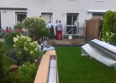 Terrassendach im Aufbau